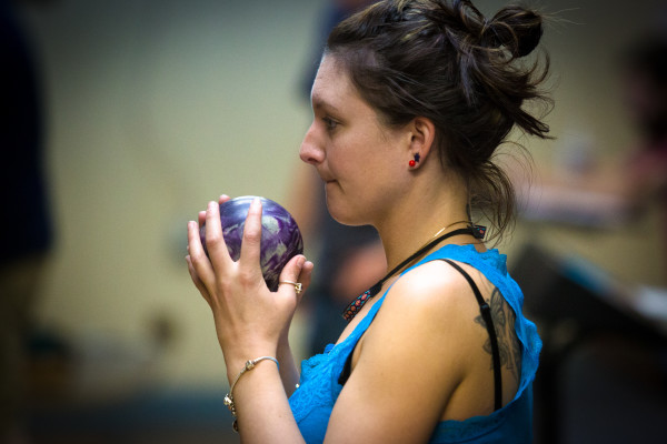Bethany Nappi lines up her shot on Monday night at Colonial Bowling Center in Westbrook. The bowling alley will close for good after a farewell tournament May 7.