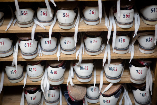 Rental shoes line a shelf on Monday night at Colonial Bowling Center in Westbrook. The bowling alley will close for good after a farewell tournament May 7.