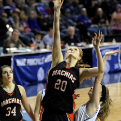 Tate Dolley of Machias scored 33 of her team's 44 points in a Class D quarterfinal against Central Aroostook on Feb. 15.