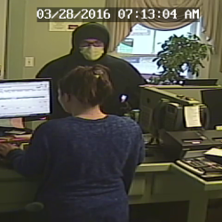 The Penobscot County Sheriff's Office is seeking the public's assistance in identifying a man suspected of holding up the Penobscot County Federal Credit Union on Bridge Street on March 28.