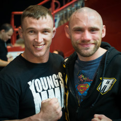 Young's MMA of Bangor teammates Josh Harvey (left) and Aaron Lacey each picked up victories at the New England Fights NEF 22 mixed martial arts and boxing event Saturday night at the Androscoggin Bank Colisee in Lewiston.