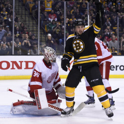 Boston Bruins left wing Matt Beleskey (39) reacts in front of Detroit Red Wings goalie Jimmy Howard (35), a former University of Maine standout, after a goal during the second period Thursday night at TD Garden in Boston.