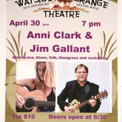 Anni Clark and Jim Gallant play at the Dexter Wayside Theatre on Sat. April 30 at 7 pm.  Two talented guitarists, songwriters and friends sit down together and play great music.  Plus, they're funny.  What more can you ask for?