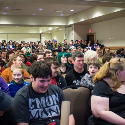 Courtesy Memorymaker Photography. Convention goers watch a panel at the 2015 Bangor Comic & Toy Con.