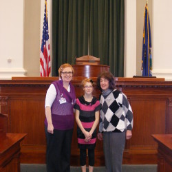 Pictured from left to right are: Bethany Zell, Elizabeth Zell, and Rep. McElwee.