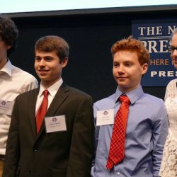 Four Thornton Academy sophomores (class of 2018) from Saco competed at the 2016 WorldQuest National Competition for high school students in Washington D.C. and placed 8th out of 49 teams. Left to right: Vincent Falardeau, Ethan Nadeau, Owen Hey, and Amber Coxen.