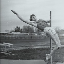 John Holyoke of Brewer High School, who is now the BDN's Outdoors Editor, shows off his high jump form in 1981. Brewer is celebrating the 100th anniversary of its outdoor track program on Saturday.