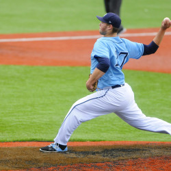 University of Maine pitcher John Arel, pictured during an April 8 game in Orono, worked six innings of four-hit ball on Saturday to help the Black Bears split an America East doubleheader against the University at Albany.