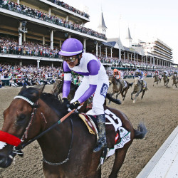 Nyquist, with Mario Guitierrez riding, wins the 142nd Kentucky Derby on Saturday at Churchill Downs in Louisville, Kentucky.