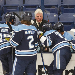 UMaine head coach Red Gendron talks to his team during the annual UMaine Hockey Blue/White scrimmage at Alfond Arena on Sunday Oct. 4, 2015.
