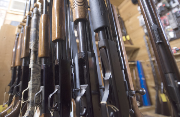 Rifles and shotguns for sale can be seen at Bill's Gun Shop in Orrington in this January 2016 file photo.
