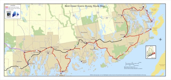 This map shows the Bold Coast Byway, which the Washington County Council of Governments, in partnership with other organizations, is promoting through a marketing plan.