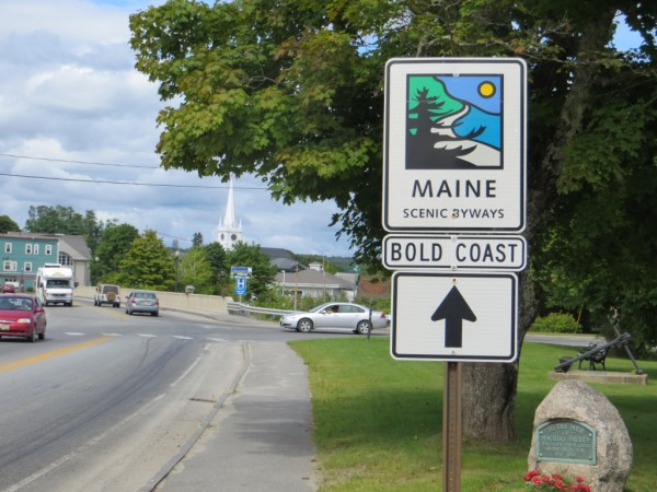 This sign for the Bold Coast Scenic Byway is posted in Machias. The byway runs from Milbridge to Lubec, including portions of Route 1 and some of the peninsulas.