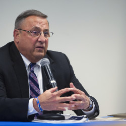 Gov. Paul LePage talks during a town hall meeting in Belfast in this April 2015 file photo.