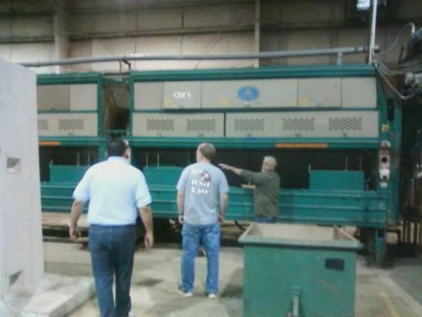 Hampden Mayor David Ryder (center) tours Fiberight's demonstration plant in Lawrenceville, Virginia, in April.
