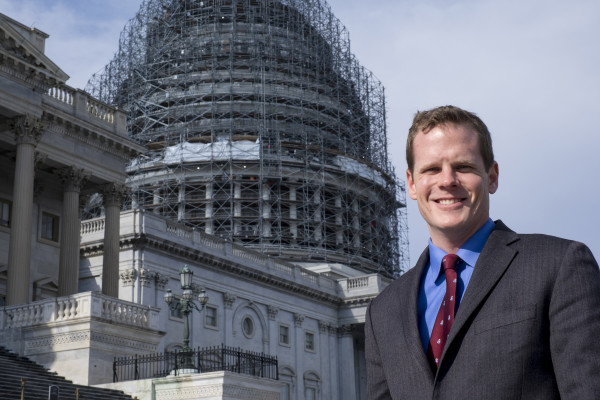 Christopher R. Poulos stands in front of the Capitol in Washington. Although he has been in recovery from a substance use disorder since 2007, Poulos won an internship at the White House and is a law student at the University of Maine.