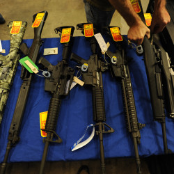 Hunting rifles and home defense weapons are offered for sale at the Bangor Gun Show at the Bangor Auditorium. in this September 2009 file photo.