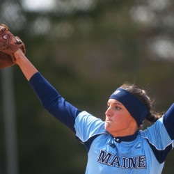 Pitcher Erin Bogdanovich of the University of Maine, pictured during an April 9 game against the University of Massachuetts Lowell, pitched a six-hit shutout on Friday to lead the Black Bears into the championship round of the America East tournament at Vestal, New York.
