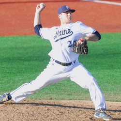 Senior right-hander Logan Fullmer, pictured during a 2015 game, pitched seven innings of five-hit ball on Saturday afternoon, helping the University of Maine earn a 2-1 America East baseball victory over Stony Brook at Mahaney Diamond in Orono.