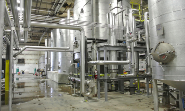 The enzymatic hydrolysis system at Fiberight's demonstration plant in Lawrenceville, Virginia, is part of the company's process for converting organic materials in household waste into biogas.