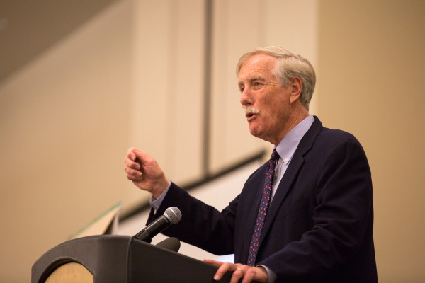 U.S. Sen. Angus King speaks during the One Life Project at the Cross Insurance Center in Bangor recently.