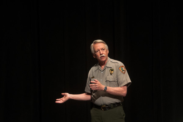 National Park Service Director Jonathan Jarvis speaks at Monday's second public forum on a monument proposed by Roxanne Quimby's family for lands east of Baxter State Park at the Collins Center for the Arts on the University of Maine campus in Orono.