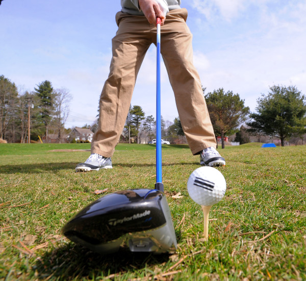 Rob Jarvis, assistant pro at Bangor Municipal Golf Course, demonstrates a stance when using a driver in this file photo.