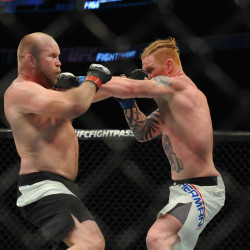 Ed Herman (blue) punches Tim Boetsch (red) during a middleweight bout at UFC Fight Night at the TD Garden in January. Herman won in the second round with a knockout.
