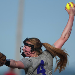 Old Town's Mckenna Smith pitches to Orono during their softball game Thursday in Orono.