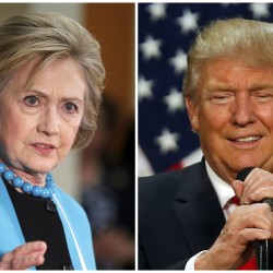 A combination photo shows Democratic presidential candidate Hillary Clinton (L) and Republican presidential candidate Donald Trump (R) in Los Angeles on May 5, 2016, and in Eugene, Oregon, May 6, 2016, respectively.