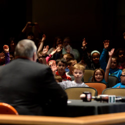 Gov. Paul LePage answers questions from the third graders at the Brewer Community School on April 2, 2016, following the signing of LD 1609. The bill made the American lobster the official crustacean of Maine.
