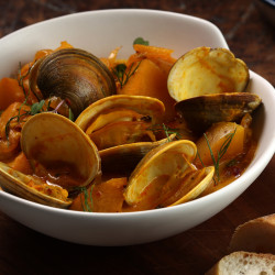 Saffron adds its beautiful fragrance to a bowl of steamed clams.