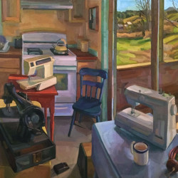 "Hollister's Sewing Machine Collection, oil on linen, 24"" x 36"", 2016"