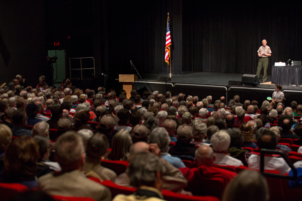 National Park Service Director Jonathan Jarvis speaks at the day's second public forum on a monument proposed by Roxanne Quimby's family for lands east of Baxter State Park at the Collins Center for the Arts on the University of Maine campus in Orono.