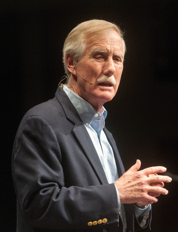 U.S. Sen. Angus King, I-Maine, speaks at the day's second public forum on a monument proposed by Roxanne Quimby's family for lands east of Baxter State Park at the Collins Center for the Arts on the University of Maine campus in Orono.