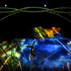 A Cirque du Soleil performer rehearses Wednesday at the Cross Insurance Center in Bangor.