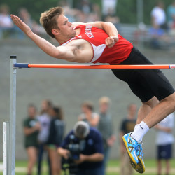 Scarborough's Sam Rusak took first place in the boys high jump with a height of 6 feet during the Class A state track and field championships Saturday at Hampden.
