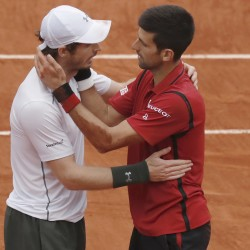 Novak Djokovic (right) of Serbia and  Andy Murray of Britain react after Djokovic's victory in the French Open final Sunday at Roland Garros Stadium in Paris.