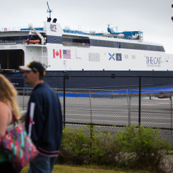 The high-speed ferry known as The Cat, which arrived late Sunday night or early this morning, sits at the Ocean Gateway Terminal in Portland on Monday. The vessel is expected to start making daily runs to and from Yarmouth, Nova Scotia on June 15.