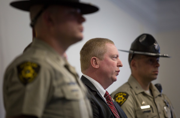 Sheriff Troy Morton (center) identifies the victim of a fatal dog attack on Saturday in Corinna as Hunter Bragg, 7, during a press conference on Monday in Bangor.