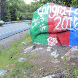 """The newly redone """"Painted Rock"""" of Lincoln drew raves from people who enjoy the 60-plus-year-old informal community bulletin board and monument."""