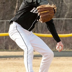 Cameron Graham fires in a pitch for the Shiretowners during a recent outing at Caribou.