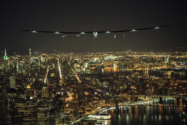 Solar plane lands in NYC during bid to circle the globe