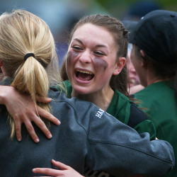 Old Town celebrates after defeating Hermon during their softball game at Hermon Saturday. Old Town won 1-0.