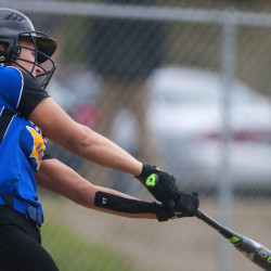 Hermon's Karli Theberge connects with the ball from Old Town during their softball game at Hermon in this May 2016 file photo.