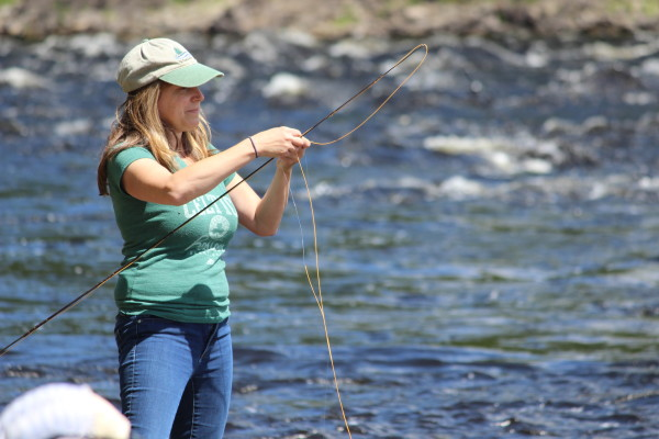 Cheryl Daigle of Old Town untangles her fly line while shad fishing on June 10 on the Penobscot River in Old Town.