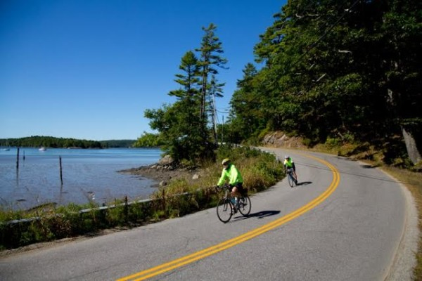 Cyclists travel along the road on the Blue Hill Peninsula. BikeMaine is coming to the Bold Coast in September and community groups hope it can jumpstart bicycle tourism in the region.