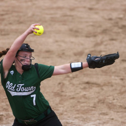Old Town's Olivia Albert pitches to Nokomis during their softball game Thursday in Old Town.