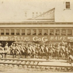 Bangor soldiers decorated their train with graffiti on their way to Texas in 1916.