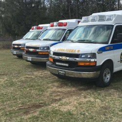 Three Downeast EMS ambulances can be seen in Baileyville in this undated photo. Downeast EMS is celebrating its 15th anniversary.